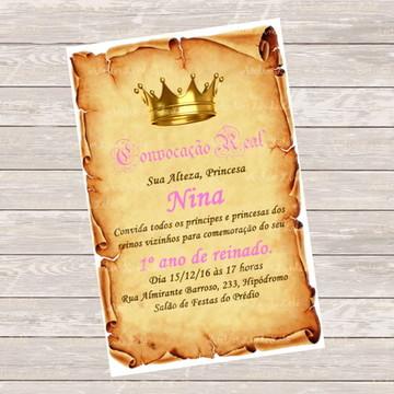 Convite Digital Pergaminho - Menina