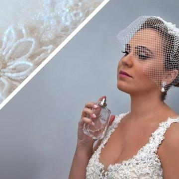 Voilette Flor Rebordada Pedrarias Branco