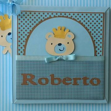 livro álbum Diário do bebê menino Ursinho Fofo azul e marrom