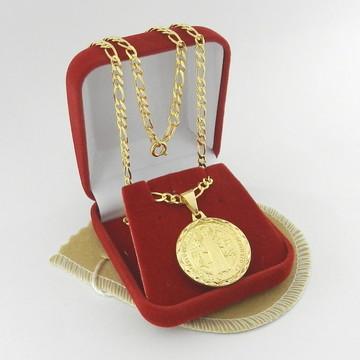 Corrente Masculina 50cm 3mm + São Bento Folheada Ouro CR238