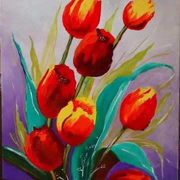 Quadro decorativo tulipas mimo lembrancinha presente mães