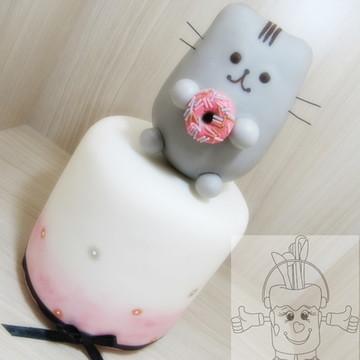 topo e bolo falso Pusheen The Cat