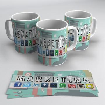 Caneca Porcelana Profissões - Marketing