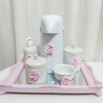 kit Higiene em porcelana - Rosas