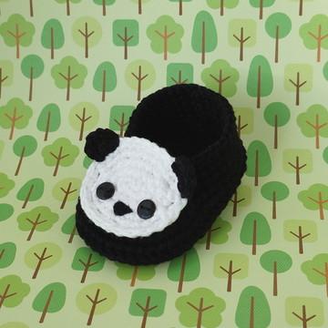 Sapatinho de Crochê - Panda