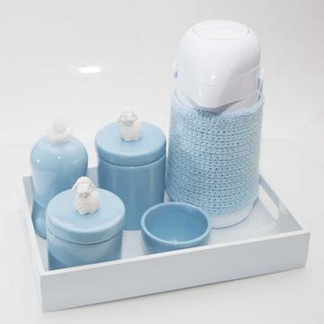 Kit Higiene Azul Porcelana Ovelha