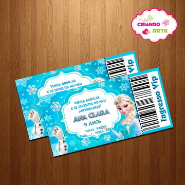 Convite Ingresso VIP Frozen