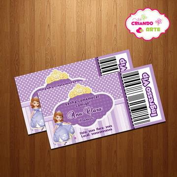 Convite ingresso vip Princesinha Sofia