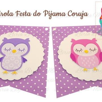 Bandeirola Festa do Pijama Corujas
