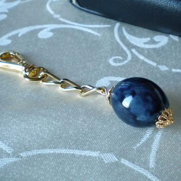 Chaveiro Dourado Porcelana Azul