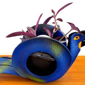 Vaso de pneu Arara Azul tropical - Artesanato de pneu