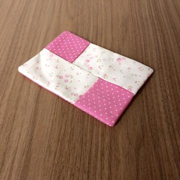 Porta lenço de papel rosa poá