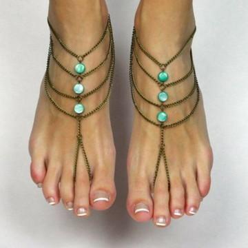Sandália descalça corrente