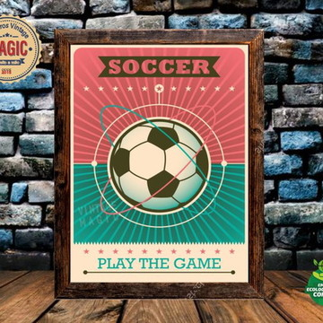 Quadro Rústico Esportes Futebol Vintage