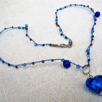 Colar coração azul 1