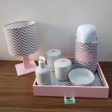 Kit Higiene Nuvem Chevron Cinza e Rosa