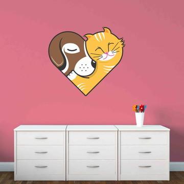 Adesivo Coração Cachorro e Gato