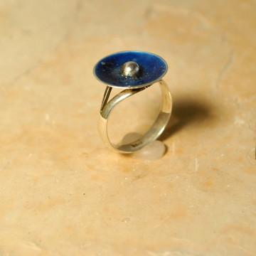 Anel Prata Esmaltado Azul