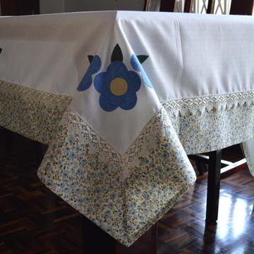 Toalha de Mesa Floral Azul