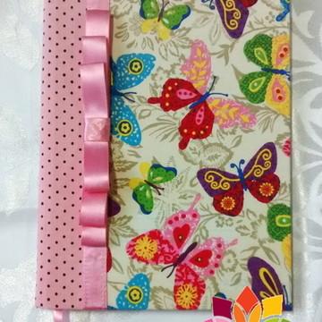 Caderno pequeno encapado com tecido