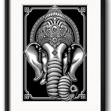 Quadro Ganesha Preto Branco com Paspatur