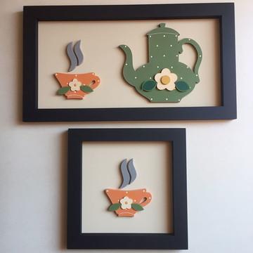Quadros de xícara e bule
