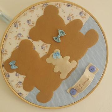 Enfeite de Porta Maternidade Família Urso - Pronta Entrega