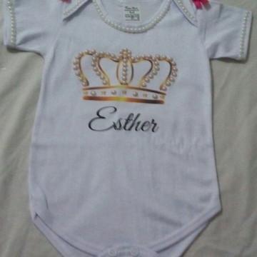 Body Infantil Customizado em Pérolas