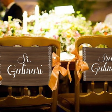 Casamento - Placas Decorativas Cadeira Noivos