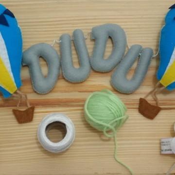 Varal móbile - Nuvens, balões e nome
