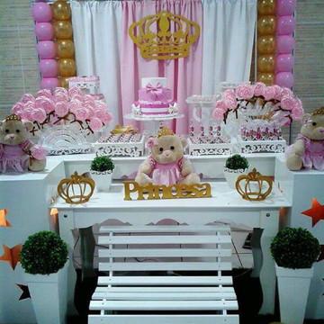 Decoração Ursa Princesa c lembrancinhas