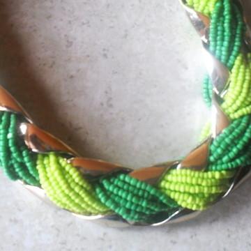Maxi Colar Trançado/Miçangas Verdes