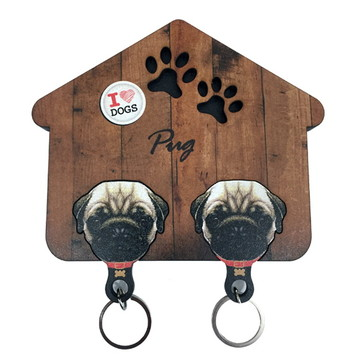 Porta chaves Pug com Chaveiro