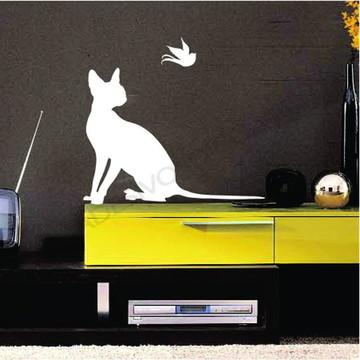 Adesivo - PÁSSAROS - Gato e Pássaro