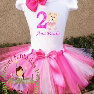 Fantasia Roupa Aniversario Ursa Bailarin