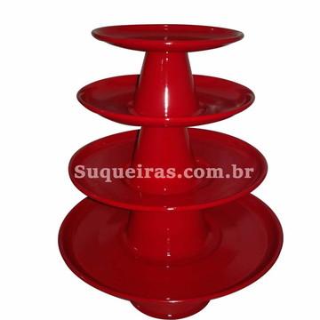 Kit De Bandejas 4 Peças Vermelho