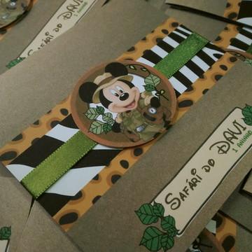 Convite para aniversário infantil Mickey Safari
