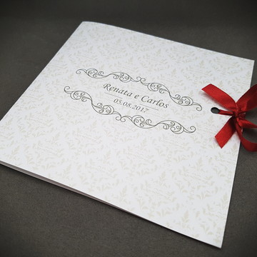 Convite casamento clássico branco novo