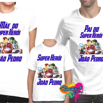 Camisa Personalizada Vingadores Kit 3Pçs