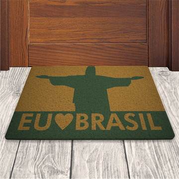 Tapete Capacho Eu Amo o Brasil - Ouro - 60x40cm