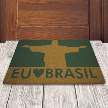Tapete Capacho Eu Amo o Brasil - Verde Musgo - 60x40cm