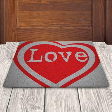 Tapete Capacho Love - Prata - 60x40cm