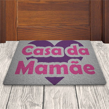 Tapete Capacho Casa da Mamae - Prata - 60x40cm