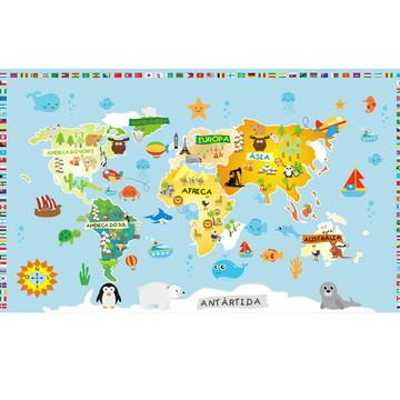 Adesivo Mapa Infantil De Parede M80