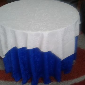 Conj.Toalha Bege e Azul com arabescos