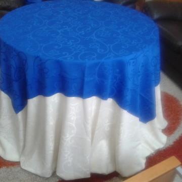 Conj, Toalhas Bege e Azul com arabescos