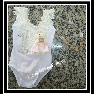 Collant com Head Band Ursa Princesa