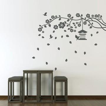 Adesivo para parede da sala Galho, folhas, Pássaros e Gaiola