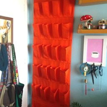 Sapateira/organizador de tecido laranja