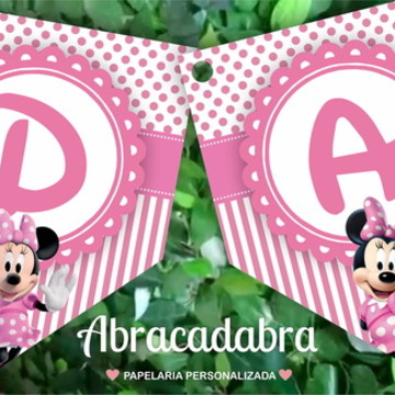 Bandeirola Digital Minnie Rosa